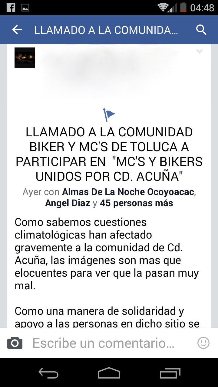 LLAMADO A LA COMUNIDAD MOTOCICLISTA DE TOLUCA Y ALREDEDORES