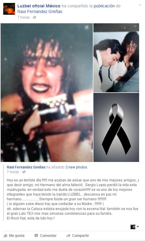 Descanse en Paz: Sergio López (Banda Luzbel)